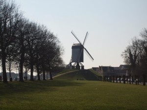 One of the remaining historic windmills on the edge of the historic core of Bruges.