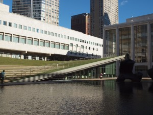 Lincoln Center's new green landscaping.
