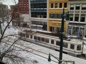 The light rail and Main Street outside my window.