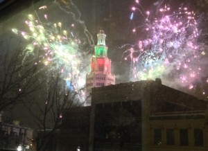 The New Year's Eve view from my 3rd floor windows. Fireworks over the Electric Tower in downtown Buffalo.