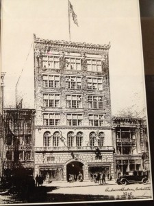The rendering for the building which would become the core of Berger's Department store on the 500 Block of Main Street in 1928.  The Gamler's Building is on the right hand side.  Courtesy Ellicott Development.