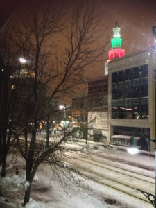 The night time view out my window in downtown Buffalo. Goldome Bank to the Left, the Electric Tower to the right.