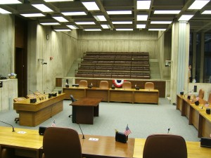 One of Boston City Hall's interior public spaces.