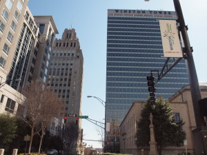 This corner in downtown Winston-Salem has a 1929 third scale version of the Empire State Building in the vacant Reynolds Tower, a 1966 curtain wall office tower and an also vacant classical courthouse.  Both the 1966 skyscraper and courthouse are listed in the National Register.