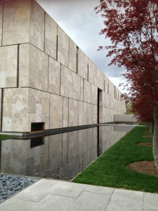 The entrance of the new Barnes Foundation Museum designed by Todd Williams Billie Tsien Architects.
