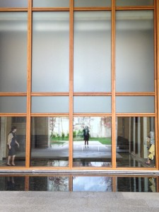 The entry courtyard of the new Barnes Foundation museum.