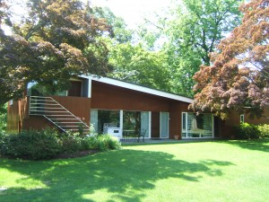 """Marcel Breuer's """"House in the Musuem Garden"""" was relocated to the Rockefeller estate, Kykuit, after the 1949 exhibition closed, and is now a scholar's residence."""