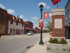 The entrance to the Czech Village in Cedar Rapids.