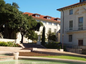 One of many lovely views at the UT Austin campus, balancing historic buildings and foliage with open spaces.