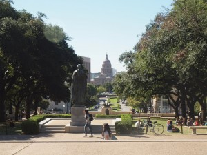 And the view from the heart of the campus to the State Capitol.