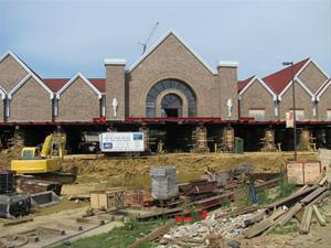 "Preparing to ""slide"" the National Czech Museum & Library across the street in June 2011. Photo courtesy NCML website."