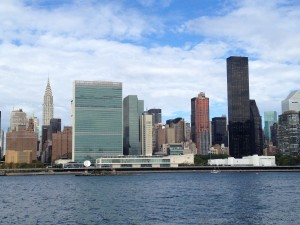 The view of Manhattan's East Side from Gantry Plaza State Park in Long Island City.