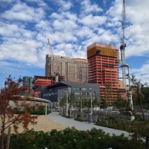 New construction overlooks Hunters Point South Park where even the dog run is a work of art.