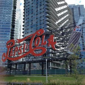 The famous restored Pepsi-Cola sign now a feature of Long Island City's waterfront park.