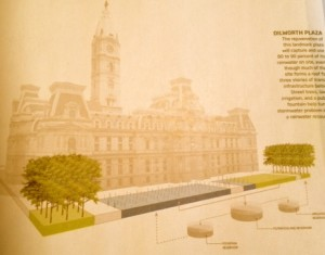 Dilworth Plaza at Philadelphia City Hall is being remade with green infrastructure to mitigate the city's combined sewer problem. Image courtesy Greensource Magazine.