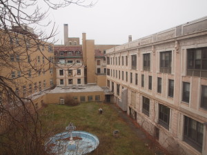 The historic courtyard of the Buffalo Homeopathic Hospital.