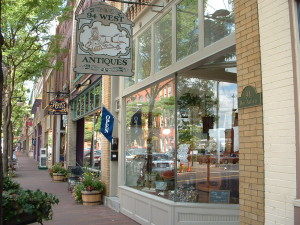 "Market Street in downtown Corning, NY, the location of ""From Main Streets to Eco-Districts: Greening Our Communities."""