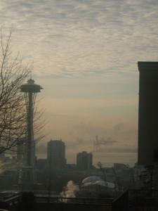 The Space Needle from my living room window in the Queen Anne High School Apartments. A more glorious view could not be imagined, even when it's foggy or cloudy!