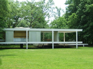 The Farnsworth House in Plano, IL, designed by Ludwig Mies van de Rohe and opened in 1951, has one operable hopper window and one door on opposite ends of one another.