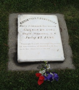 "The grave of Christian Sussdorff, a ""Married Brother,"" and the original owner of John's house."