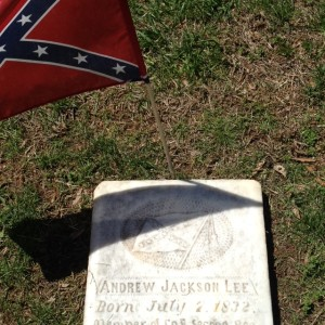 A Confederate soldier's grave in Salem Cemetery.