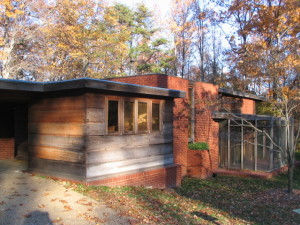 The Pope-Leighey House, a Usonian house designed by Frank Lloyd Wright, and currently located in Alexandria, VA after two moves, was designed originally in 1947 with many passive design features.