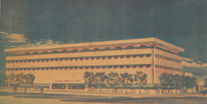 Rendering of the Buffalo Evening News Headquarters designed by Edward Durell Stone. Image courtesy The Buffalo News.