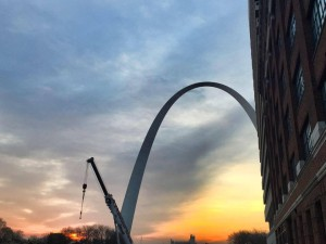 Sunrise at the Gateway Arch.