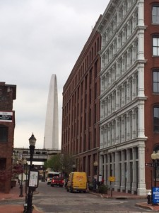 The Arch and Laclede's Landing with some of the remaining cast iron buildings.
