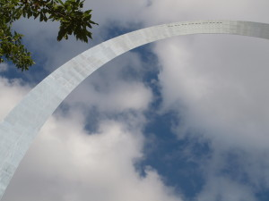 Clouds framing the Gateway Arch.