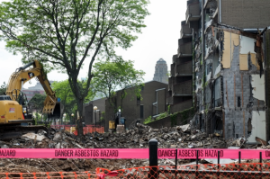 Demolition of five of the 32 remaining buildings at Shoreline began last week. Photo courtesy David Torke/FixBuffalo.