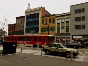 My Forester has a new parking lot on the newly opened Main Street in downtown Buffalo.